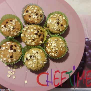 Muffin con avena e gocce di cioccolato